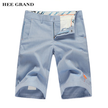 HEE GRAND 2017 Summer New Arrival Men's Shorts Casual Crane Embroidery Zipper Solid Color Knee Length Shorts MKD795