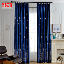 Stars Luxury Velvet Blackout Curtains For Living Room Moon Kids Flannel Embroidered Drapes for Bedroom Window Curtain Fabric(China)