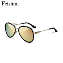 FEISHINI High Quality Market Monopoly Aviador Ladies Sunglasses Women Mirror Rose Gold Anti-Reflective HD Clear Glasses Men 2017(China)