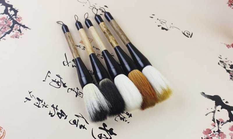 Wolf hair Brownish Rabbit Hair Mixed animal hairs Goat hair Bucket brush pen for Chinese classic painting and calligraphy writing Mixed animal hairs