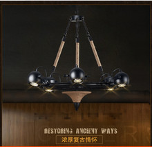 American loft Retro industrial personality Restaurant coffee bar counter tooling shop Hemp rope Wrought iron chandelier