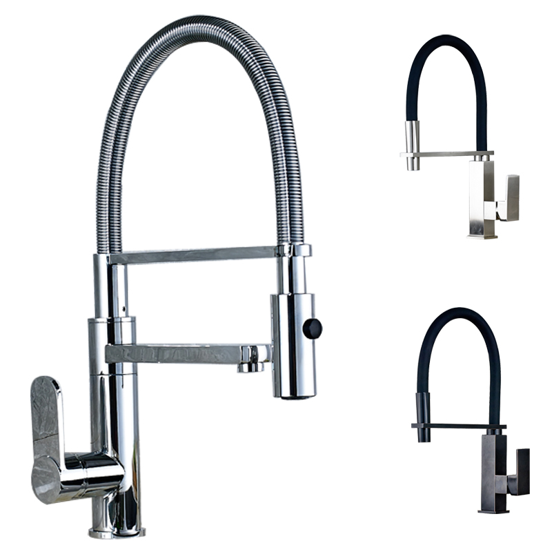 Modern Good Quality Pull Down Kitchen Sink Faucet Deck Mounted Single Hole Kitchen Mixer Crane with Bracket Bar<br><br>Aliexpress