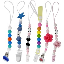 Buy Silicone Teething Pacifier Clips Safe ABS Beads Silicone Pacifier Chain Holder Nipples Baby Chew Toys