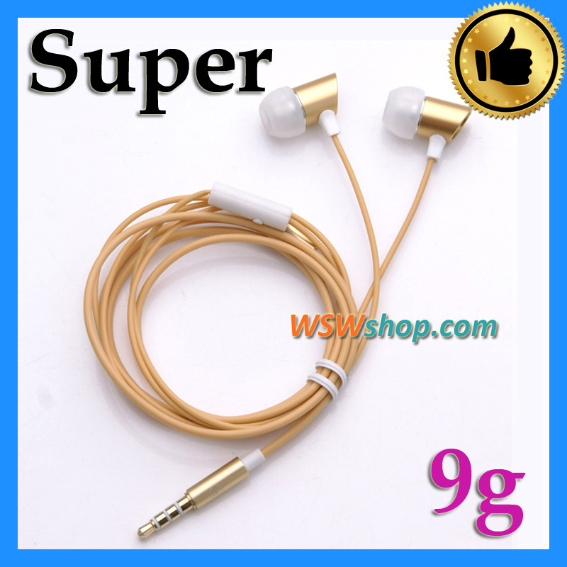 Stylish Light Weight 9g Golden Super Bass In-Ear Earphone Gold Metal Inear Headset With Mic Hands Free For Iphone Samsung<br><br>Aliexpress