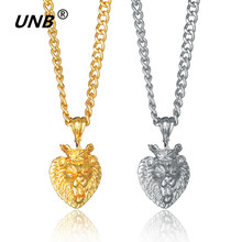 UNB 2017 New Gold/Siver Color Lion Head Crown King Necklaces & Pendants For Women Men Jewelry Statement Necklace Exo Maxi collar(China)