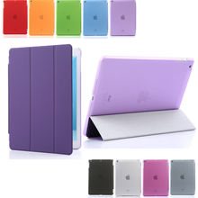 Ultra Thin Stand Smart Case Cover for ipad 2 ipad 3 ipad 4 +Transparent Back Case + Stylus +Clean Cloth + HD Protect Film(China)