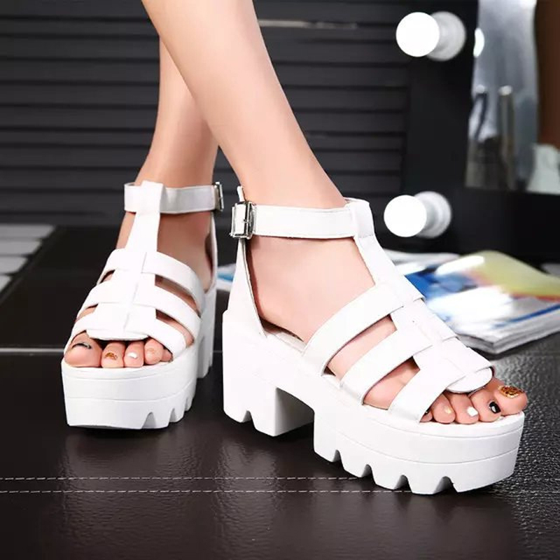 The 2017 tide fish mouth thick Heels Sandals slip female summer muffin slope with new fashion shoes Rome band<br><br>Aliexpress