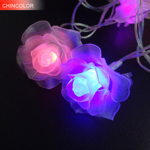 LED String Lighting nightlight Garland 3-4M 20Leds Rose Flower AC / AA Power Valentine's Day Party Wedding Christmas Fairy W