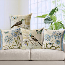 Wholesaler Animal Series Style Velvet Flower Bird Throw Cushion Case Square Sofa Home Car Decorative Cushion Pillow Case Cover