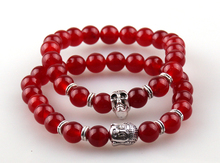 Hot Sell Jewelry 8mm Natural red Semi Precious Stone Beads bracelet Antique Silver one Buddha and one Skull charm Bracelets set