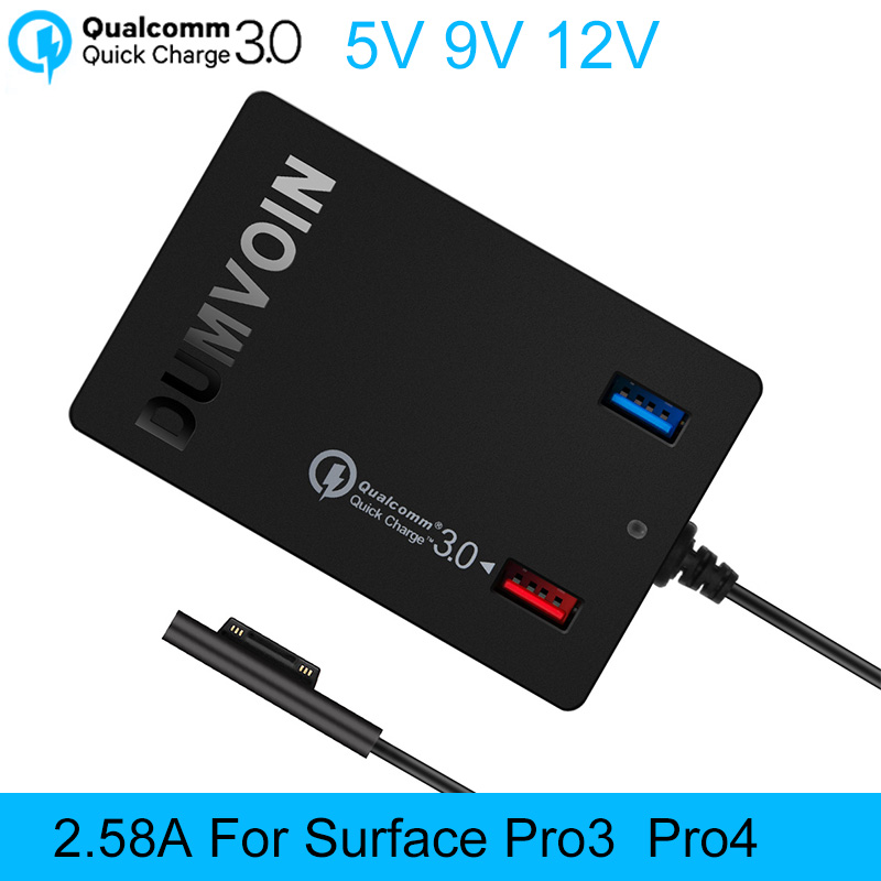 Surface Pro 3 Pro 4 Charger,DUMVOIN 72W 12V 2.58A  Adapter Power Supply Charger with QC 3.0 for Microsoft Surface Pro 3 Pro4<br>