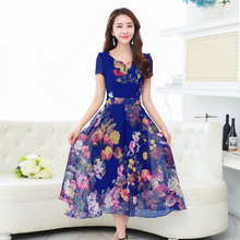 Buy 2017 Summer Fashion Print Floral Midi Dress Short Sleeve Plus Size Chiffon Bohemian Dresses Vestidos de festa QH0086 for $24.72 in AliExpress store