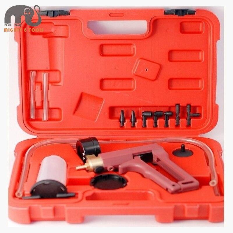 Hand Held Hold Vacuum Pump&amp;Brake Bleeder Tester Kit wGauge 0-700mmHg Brake Fluid Bleeder Oil Change Vacuum Pistol Pump Tester<br>