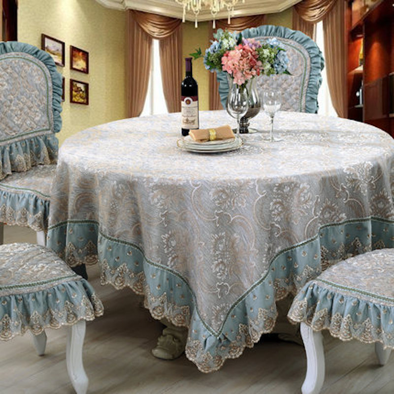 Custom Made Table Cloth Cover Tablecloth Lace Linen Chair Decorative Set  Square Rectangle Round Luxury Blue