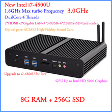 Small Computer 2015 fanless pcs with haswell Intel Core i7 4500U 1.8Ghz USB 3.0 HDMI 4K Digtal 8G RAM 256G SSD Windows or Linux