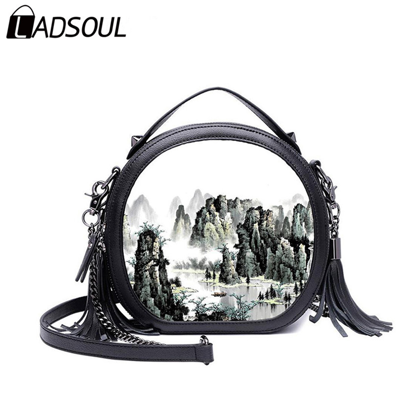 LADSOUL Fashion women PU leather Chinese Style painting landscape handbags Casual Shoulder &amp; Handbag lady small bags A3068/h <br>