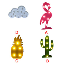 Hot style chic wind in South Korea led the flamingo cactus pineapple clouds decoration lamp letters a night light(China)
