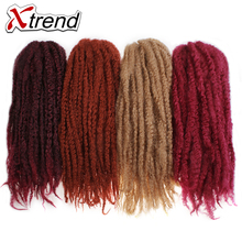 Xtrend Afro Kinky Twist Hair Crochet Braids For Women 18inch 100g Synthetic Kanekalon Braiding Hair Extensions Black Brown 6PCS