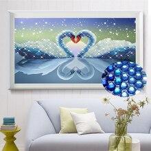 5D картина, вышитая бисером Лебедь горный хрусталь паста животного Свадебные Алмазный вышивка рукоделие поделки мозаичного искусства для п...(China)