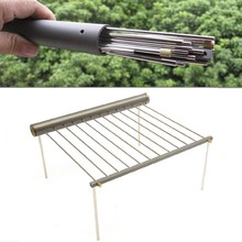 Outdoor Camping Beach Folding BBQ Barbecue Grill Rack Portable Garden Ultralight  Support Stove Metal Stand Cooking Tool