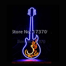 Fire guitar Neon Sign Store Display Handcrafted Neon Bulb Shop Display Real Glass Tube Advertise Neon Lamp Decorative 28x15
