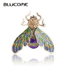 Blucome Beautiful Green Purple Enamel Insect Bee Brooch Crystal Gold-color Alloy Metal Brooches For Shoulder Scarf Sweater Pins