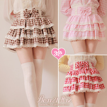 Buy Princess sweet lolita skirt Soft amo high waist bow pink plaid laciness puff cake bubble short skirt culottes mini skirt B0873 for $35.91 in AliExpress store