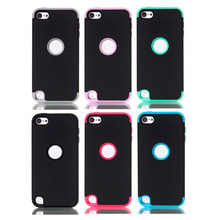 LUCKBUY LUCKBUY Brand New Hybrid 3 in 1  silicon Case for ipod touch 5 5th Generation high impact cell phone cover --Black Color
