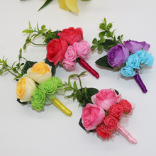 20 Pcs\lot Handmade Custom-made DIY Guest Brooch Boutonniere For Party Silk Artificial Flowers Bridegroom Bride Corsage Flower