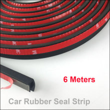 6Meter/pcs P type car sound insulation sealing rubber strip anti Noise Rubber 3m Sticky Tape car door seal(China)