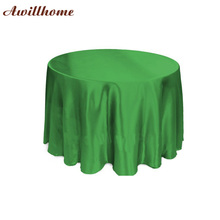 free shipping 10 pcs 108in Green round table linens for weddings satin table cloth(China)