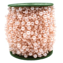 Free Shipping 5M Fishing Line Artificial Pearls Beads Chain Garland Flowers DIY Wedding Party Decoration Products Supply(China)