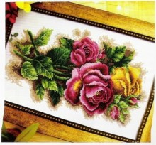 FREE delivery Top Quality Hot Selling Lovely Counted Cross Stitch Kit Dome Three Roses Yellow Red Magenta Rose Flower