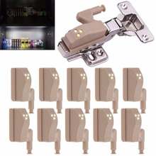 Mayitr 10Pcs/Lot Modern Emergency Helpful LED Sensor Light Lamp Cabinet Cupboard Shoebox Hydraulic Hinge Night Light Safety New(China)