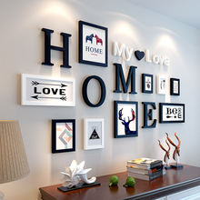European Stype Home Design Wedding Love Photo Frame Wall Decoration Wooden Picture Frame Set Wall Photo Frame Set, White Black(China)