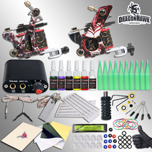 Complete Beginner Tattoo Kit Machine Guns Inks Needles Tattoo Power Supply(China)
