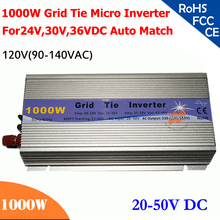 1000W grid tie micro inverter,20V-50V DC, 90V-140V AC, workable for 1200W, 24V, 30V, 36V solar panel or wind system, silver(China)