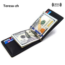 Rfid Blocking Credit Card Holder with Metal Clip High Quality Genuine Leather Men Wallet Money Bag 2017 New Arrivals Card Case