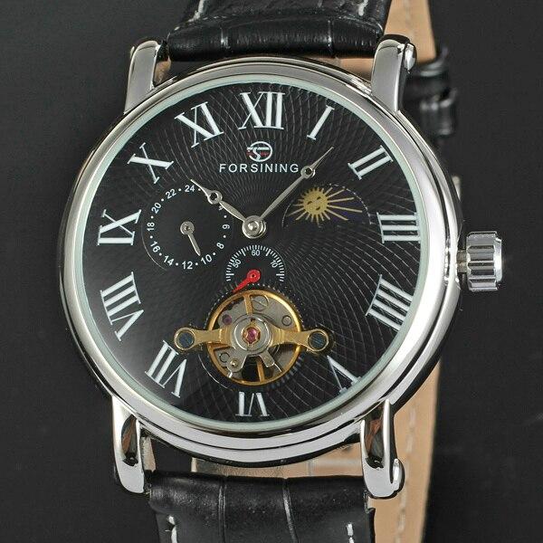 2016 WINNER Men Automatic Mechanical Watch Tourbillon 24-hours Hands Men Wrist Watch Leather Watch Band Moon Sun Phase<br>