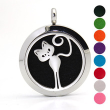 Health Jewelry Cute Cat 316L Stainless Steel Diffuser Locket Necklace Aromatherapy Pendants Necklace For Women Dropshipping