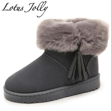 faux Fox Fur Leather Women Boots Solid Slip-on Soft Cute Women Snow Boots Round Toe Women Shoes Flat With Winter Fur Ankle Boot(China)