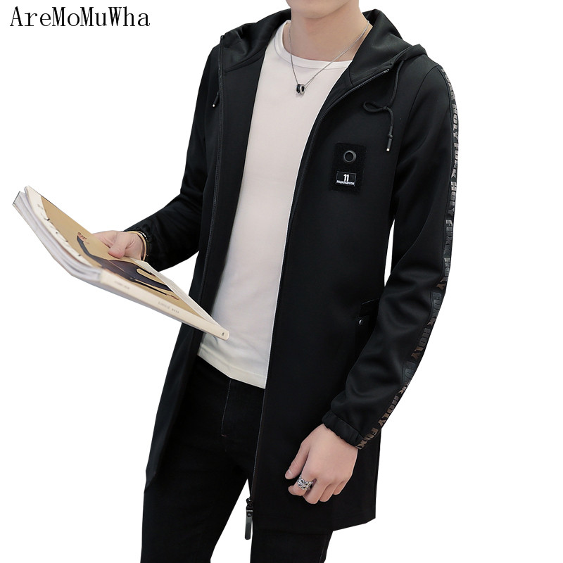 AreMoMuWha 2018 Autumn new style Men's long section Hooded trench coat Slim teen student handsome jacket coat male M-5XL QX097