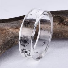 1pcs Fashion Handmade Resin Epoxy Ring Inside Dandelion Scenery Jewelry Gift For Her Transparent Ring Hot Sell(China)