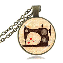 Vintage Sewing Machine Necklace Seamstress Jewelry Handmade Glass Cabochon Pendant Choker Chain Neckless Women Grandma's Gifts