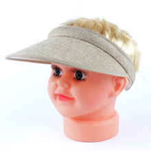2016 New Design Fashion Straw Portable Visor Hats Children Kids Empty Top Hat Summer Sun Hat Adjustable Topee summer hats G-250(China)