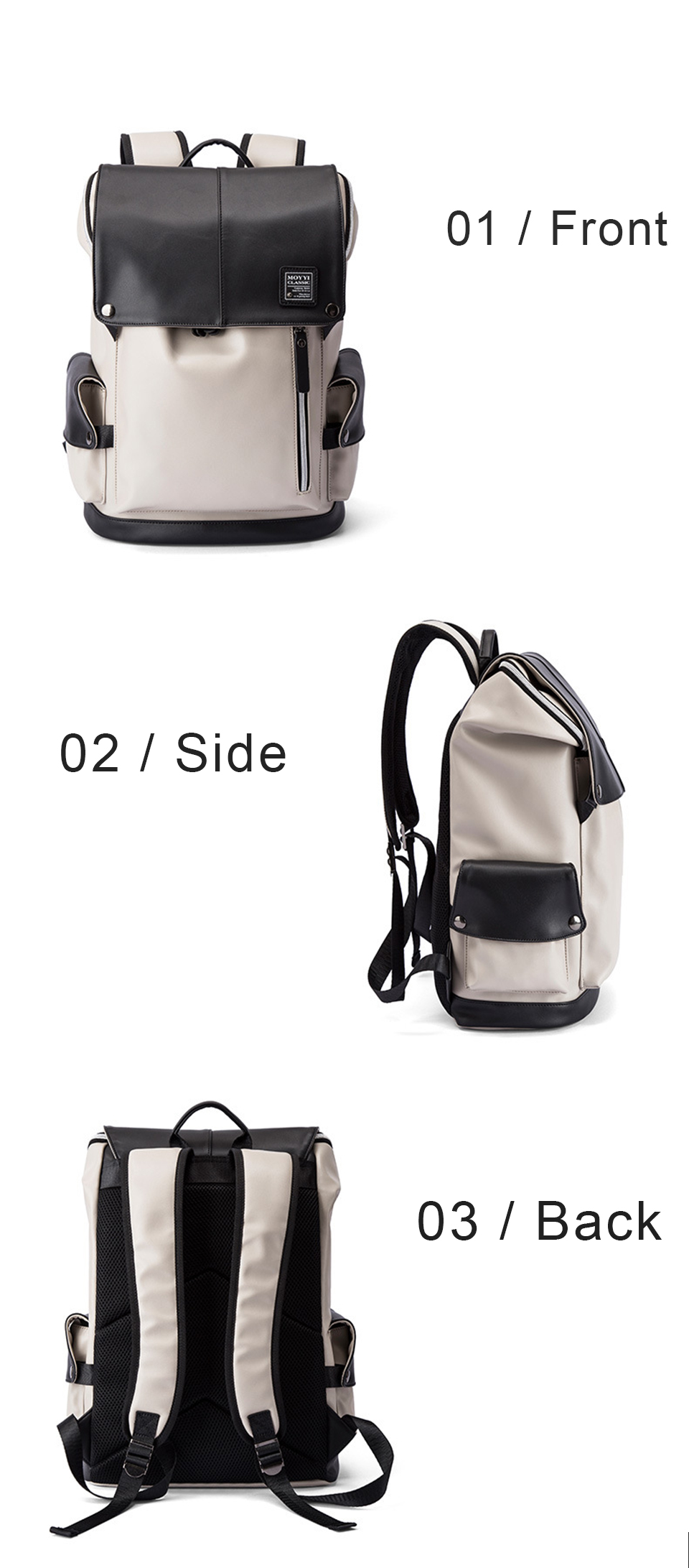 Men Backpack PU Leather Backpacks Male Laptop 17 Inch 15.6 Backpacking Women Female Bags Student Waterproof USB Charging Bagpack (8)