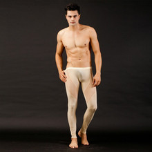 New Men See Through Jeans Mesh Low Rise Long johns Thermal Pants Underwear Trousers Buttons Men Clothes