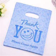 New Design Wholesale 100pcs/lot 20*25cm Luxury Blue Thank You Shopping Packaging Bags Plastic Smile Face Gift Bags