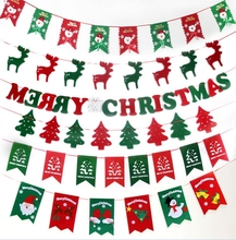Merry Christmas Letters Colorful Christmas flag DIY New Year Hanging Flag Party Decoration free shipping whole Xmas ornaments