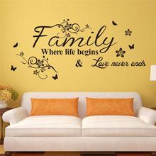 Love Family Where Life Begins Love Never Ends Removable Wall Stickers Parlor Vinyl Art Bedroom Home Decor Mural Decal ZY8237